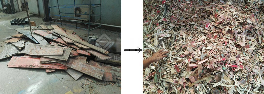 the process of wood crusher machine ,processing waste board ,pallet to small pieces chips